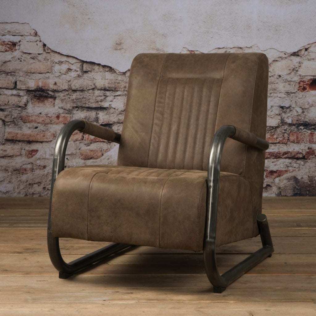 Taupe Kleurige Fauteuil.Tower Living Barn Fauteuil Taupe Leer Yels Nl
